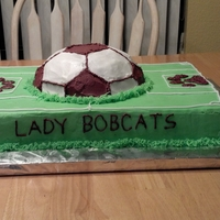End Of Season Party Soccer ball baked in Wilton soccer pan. Sheet cake is chocolate/white/chocolate, ball is white cake with strawberry yogurt used instead of...