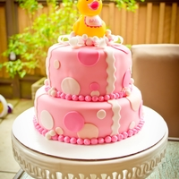 Ducky Baby Shower Cake 2 tier fondant covered cake.