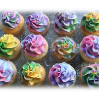 Tie Dyed Cupcakes Tie Dyed Cupcakes with vanilla buttercream icing
