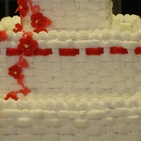 Red And White Winter Basketweave Ribbon Anniversary Cake Of 30 Years