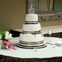 Elegant Double Ribbon Wedding Cake