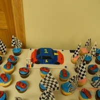 Race Car Cake And Cupcakes