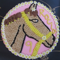 Girly Cake With Horse Vanilla and Chocolate layered Cake with Buttercream Frosting. Design inspired by Boysmom (Thank You!).