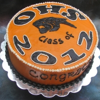 Graduation Cake Orange High School Graduation Cake: Vanilla cake with raspberry/whipped cream layer and pastry cream layer, covered with buttercream...