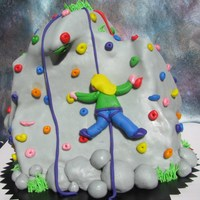 Defying Gravity Cake Birthday cake for my 9-year-old daughter for a party at a rock climbing facility. The cake was vanilla and chocolate with pastry cream and...