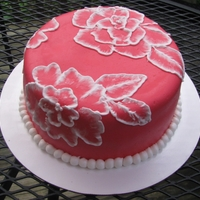 Red Fondant And Brush Embroidery Cake