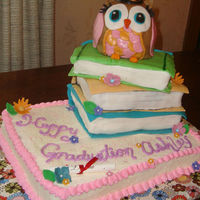 Owl And Books Graduation Cake Made this for my Step daughters graduation- Turned out so cute and she loved it! All edible