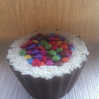Smarties Bucket Cake Chocolate, chocolate and more chocolate inside!! Good if you like chocolate. ;)