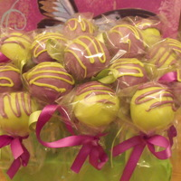Green/purple Cake Pops Made for my cousins 10th (champagne) birthday, her favorite colors are lime green and purple. My Aunt told her to pick between cake,...