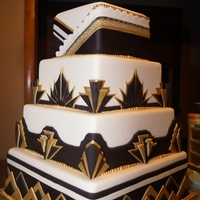 Art Deco Wedding 1 black, white and gold, square 4 tier wedding cake.Test cake