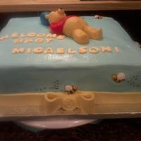 Winnie The Pooh, Shower Cake   This was the most fondant work I have done on a cake, I was pretty pleased with the way it turned out.