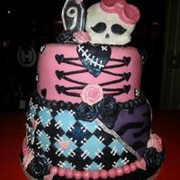 Monster High Cake With Coloured Sponge monster high themed cake. the sponge inside is vanilla flavoured with vanilla butter cream. The sponge has been brightly coloured to match...
