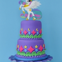 Princess Celestia Cake Princess Celestia is featured in this 'My Little Pony' themed birthday cake.