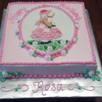 Holly Hobby Birthday Cake 10 inch square white cake iced in butter cream. Fondant/gumpaste centerpiece.