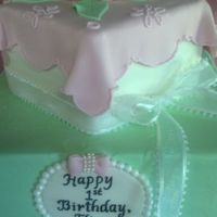 Pink And Green Birthday Cake 6 and 10 inch square orange pound cake filled with orange curd. The bottom tier is iced in butter cream and the top in fondant. Fondant...