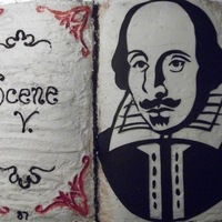 "Shakespeare Cakes An English teacher asked me to make a birthday cake for Shakespeare's birthday. Half of this ""book"" is chocolate, half..."