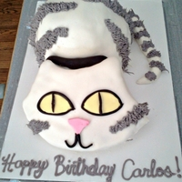 Cat Birthday Cake Birthday cake carved in the shape of a cat. Covered with MMF and the stripes were piped with wilton tip #233