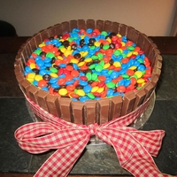 Kit Kat And M&m Bucket i got this idea for one of the wonderful bakers online sorry i don't remembered one but thank you,i made it !!!!