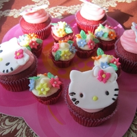 Hello Kitty Cupcakes Red velvet with hello kitty made of fondant