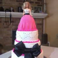 Barbie Doll Cake all frosted in rich's bettercreme, doll with buttercream and fondant