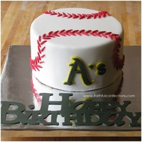 This Is Was Birthday Cake For A Baseball Fan You Could Tell Who His Favorite Team Is All The Stiches Were Rolled By Hand And Logo Was Ha This is was birthday cake for a baseball fan. You could tell who his favorite team is. All the stiches were rolled by hand and logo was...