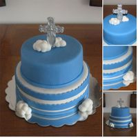 Baptism Cake  This cake was for my nephews' baptism. I decided to make the cross and clouds on top of the cake. The top layer represents the...