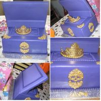 Jewelry Box This royal purple jewelry box is for her daughter. She wanted an opened jewelry box, not just a lid on top! Inside is a gold princess crown...