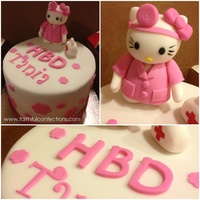 Here Is One Of My Last Cake Orders For 2012 This Was My First Time Molding Hello Kitty Besides That She Had To Be Portraying The Celebrants... Here is one of my last cake orders for 2012. This was my first time molding Hello Kitty besides that she had to be portraying the...