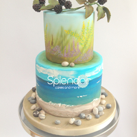 Beach Sea And Gorse Inspired Cake Beach, sea and gorse inspired cake.