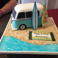 Kombi Anniversary This was made for my cousins 6 month anniversary. It is a replica of their wedding car, right down to the number plate that says WANDAA.The...