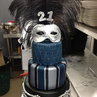 Masquerade 3 tiered Masquerade Cake in black, silver and midnight blue. The mask is edible