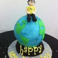 Teacher's Day Cake   Design given by client. Chocolate cake with ganache frosting.