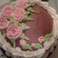 Birthday Cake butter cakes w/ almond flavoring choc icing buttercream roses