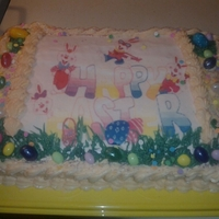 Easter   orange cake w/ orange cream cheese icing and edible print w/jelly beans