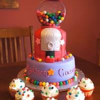 Gumball Machine Cake Both Tiers Are Yellow Cake With Chocolate Buttercream Filling   Gumball Machine Cake! Both Tiers are Yellow Cake with Chocolate Buttercream Filling