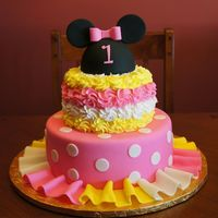 Minnie Mouse Birthday Cake Top Tier Butter Yellow Cake With Vanilla Buttercream Filling Covered In Buttercream Rosettes Bottom Tier Butter... Minnie Mouse birthday cakeTop tier Butter Yellow Cake with Vanilla Buttercream filling covered in Buttercream rosettes. Bottom tier Butter...
