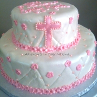 Baptism Cake Covered in fondant, fondant flowers,. with edible pink beads