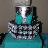 Turquoise And Black Bling Cake Turquoise and Black Bling Cake.
