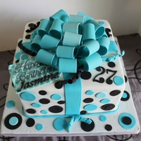 Aqua And Black Gift Box Cake Aqua and black gift box cake.