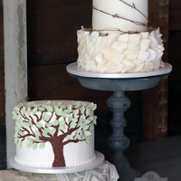 Leaf And Grapevine 2 Tier Wedding Cake And Tree Grooms Cake To Match The Invitation And Reflect The Symbolism Of The Oak Tree They Were Ma... Leaf and Grapevine 2 tier wedding cake and Tree groom's cake (to match the invitation and reflect the symbolism of the oak tree they...