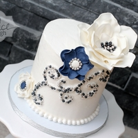 Engagement Navy And Silver Cake And Cupcakes