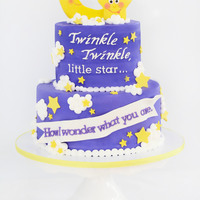 Twinkle Twinkle Little Star. Baby Gender Reveal Shower Cake Batter of the cake was the color of the *** of the baby. All buttercream cake with Fondant/gumpaste banner and figures