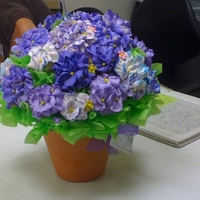 Cupcake Bouquet Purple and Blue Hydrangeas