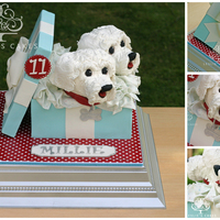 Maltese Terrier Dogs Gift Box Cake 11-year old Millie has two white Maltese Terrier dogs she adores so we created this for her birthday celebration. The Maltese Terriers,...
