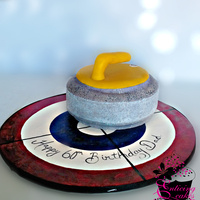 Right On The Button Curling Rock Cake