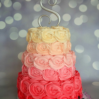 Vibrant Pink Rosette Ombre Vibrant Pink Rosette Ombre Cake with our new Bakedrop by Sugar High
