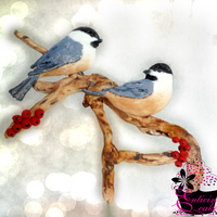 Chickadees Chickadee Wedding Cake Topper (Handpainted Fondant)