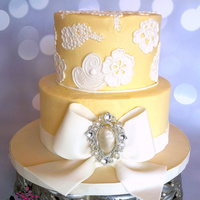 Buttercream & Lace Lace Applique on Buttercream Wedding Cake
