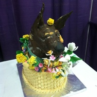Great Dane In A Flower Basket Chocolate Espresso Cake With White Chocolate Cappacino Truffle Filling The Dane Is Rkt Covered In Chocolat Great Dane in a flower basket. Chocolate espresso cake with white chocolate cappacino truffle filling. The Dane is RKT covered in chocolate...