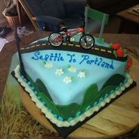 Stp Cake Solved my air bubble under fondant problem with this cake. STP is a yearly Seattle to Portland Bicycle Ride